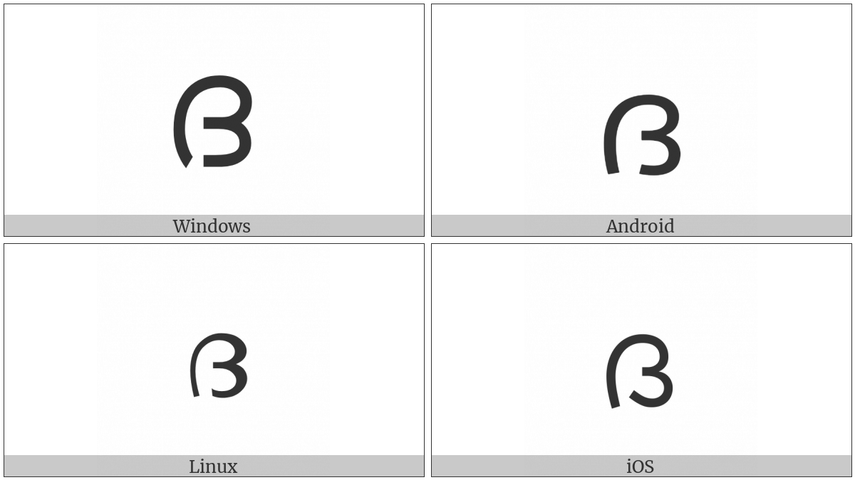 Malayalam Letter Da on various operating systems