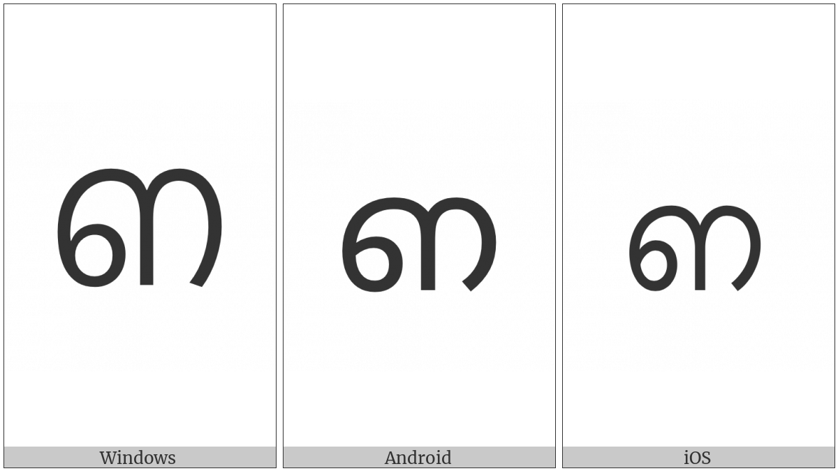 Malayalam Letter Nnna on various operating systems
