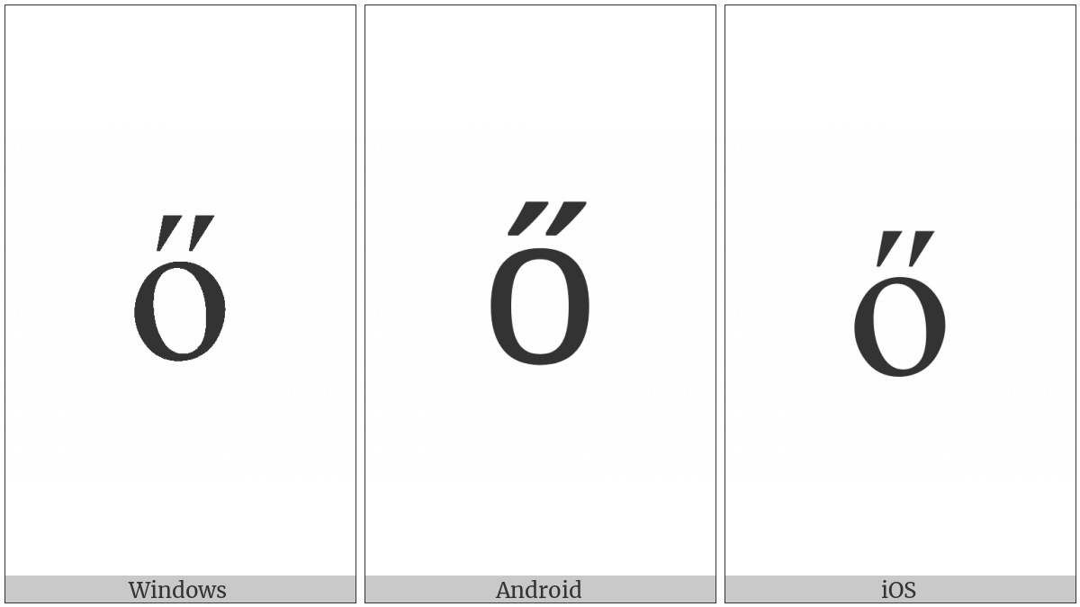 Latin Small Letter O With Double Acute on various operating systems