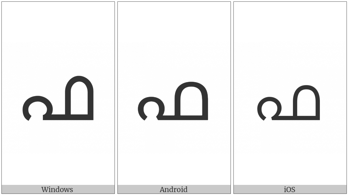 Malayalam Letter Pha on various operating systems