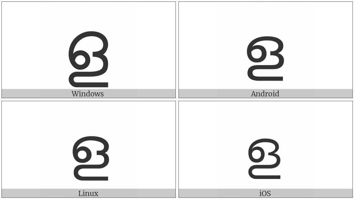 Malayalam Letter Lla on various operating systems