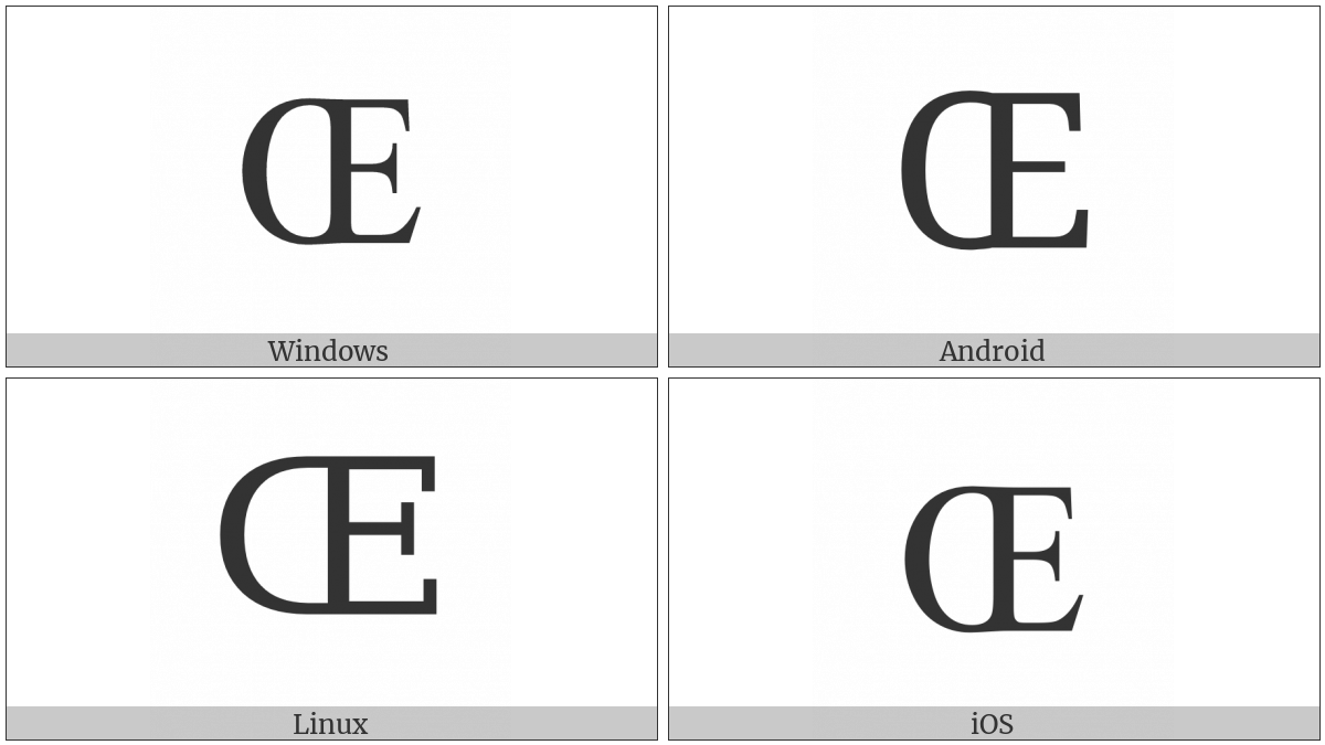 Latin Capital Ligature Oe on various operating systems