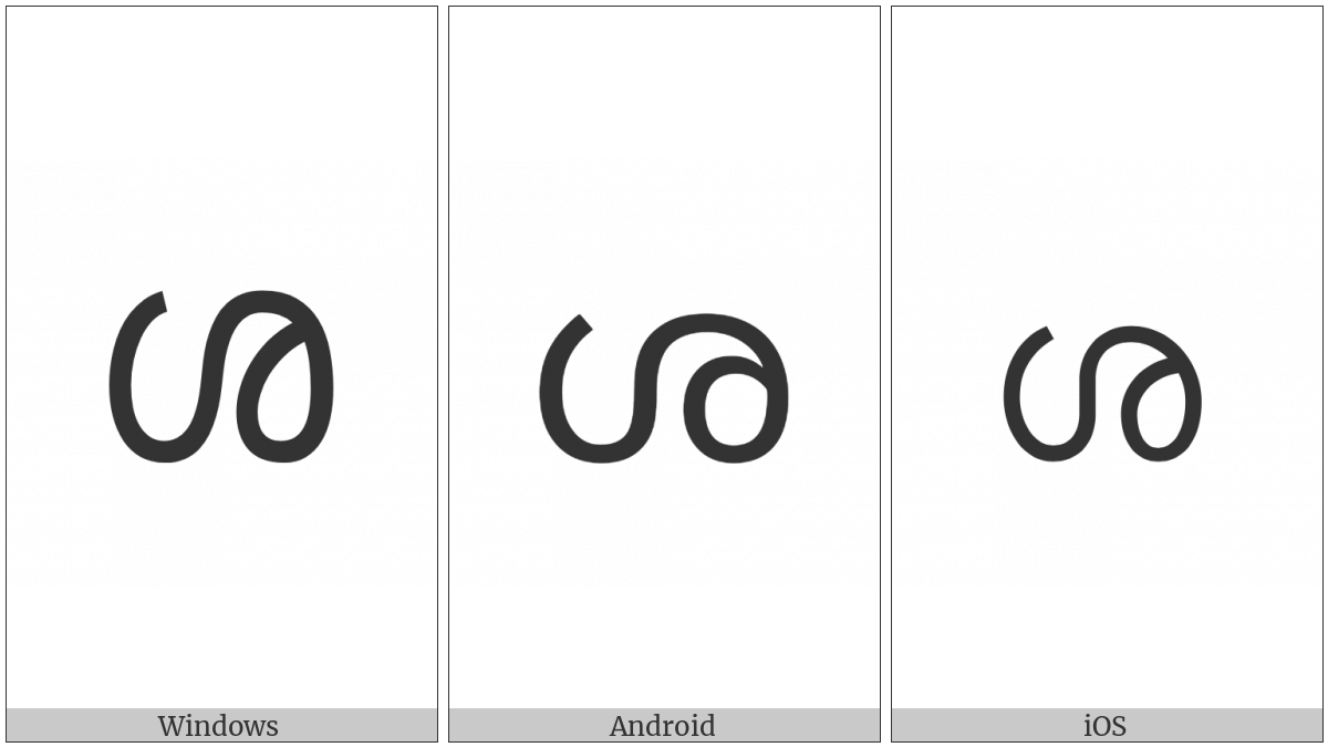 Malayalam Letter Sha on various operating systems