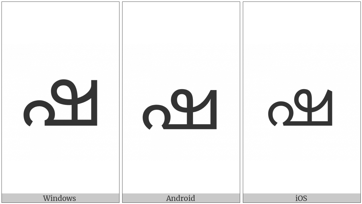 Malayalam Letter Ssa on various operating systems