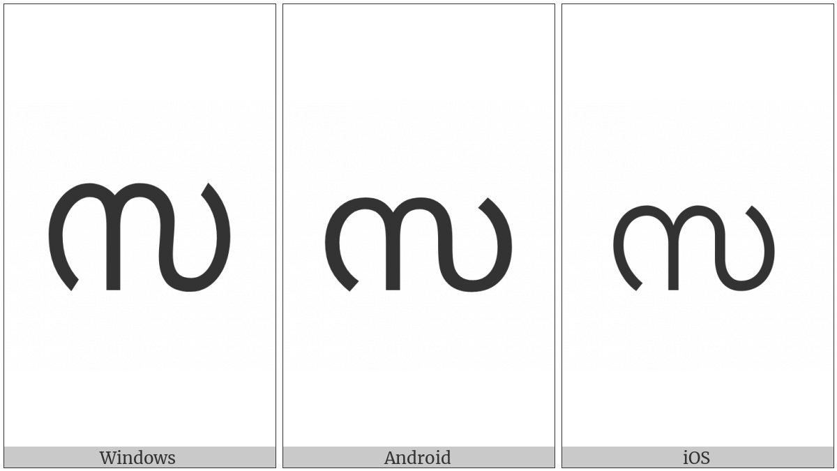 Malayalam Letter Sa on various operating systems