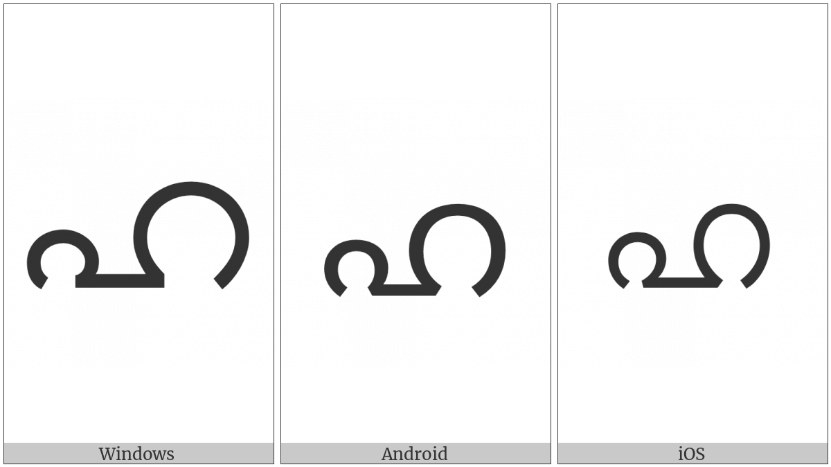 Malayalam Letter Ha on various operating systems