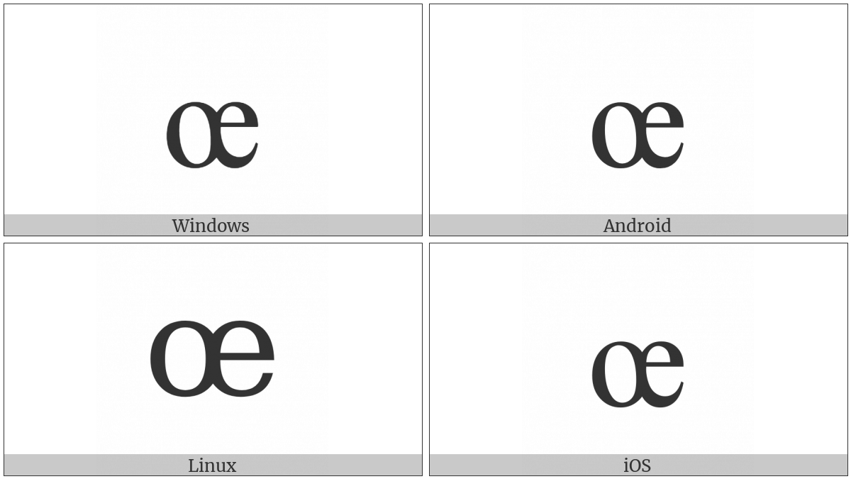 Latin Small Ligature Oe on various operating systems