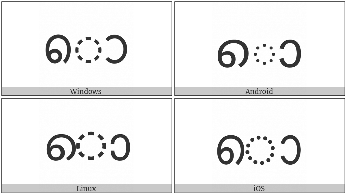 Malayalam Vowel Sign O on various operating systems