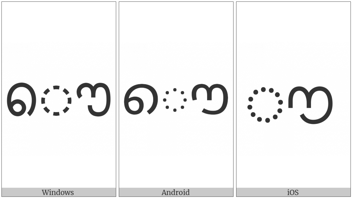 Malayalam Vowel Sign Au on various operating systems
