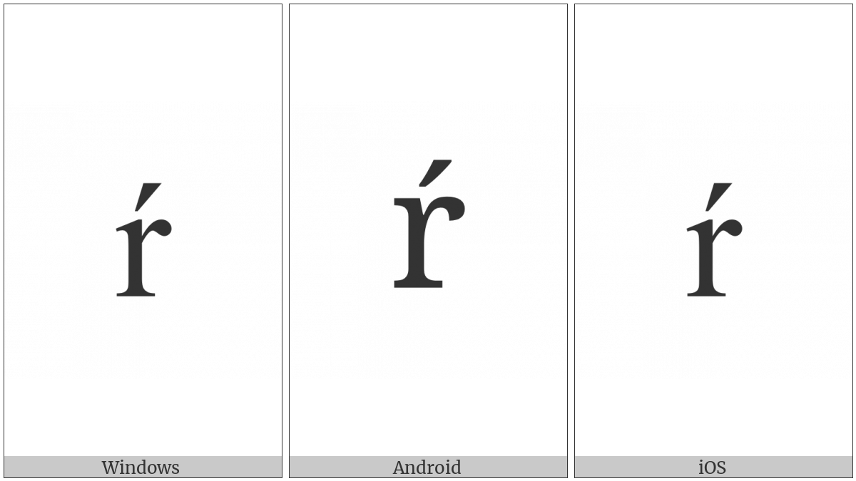 Latin Small Letter R With Acute on various operating systems