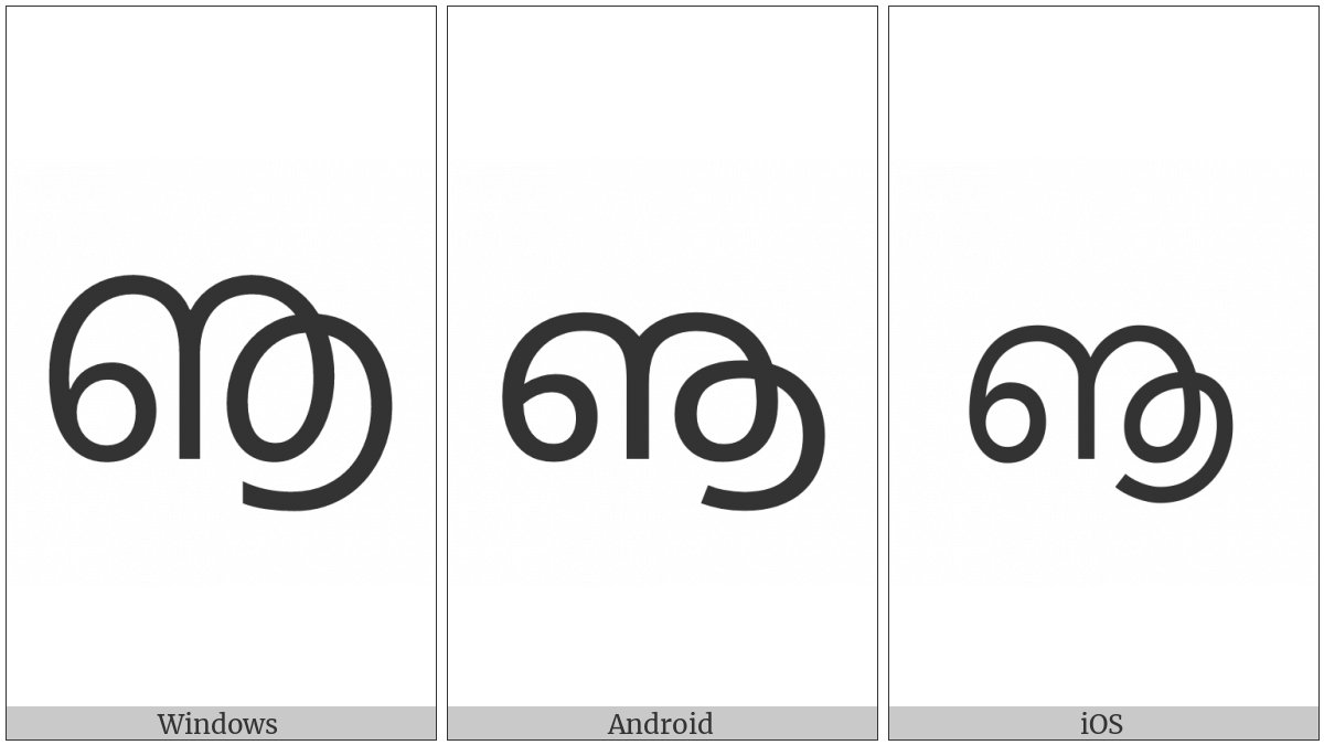 Malayalam Letter Vocalic Ll on various operating systems
