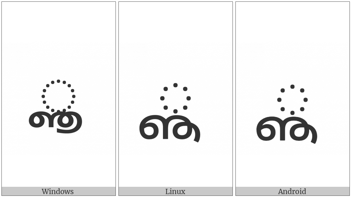 Malayalam Vowel Sign Vocalic Ll on various operating systems