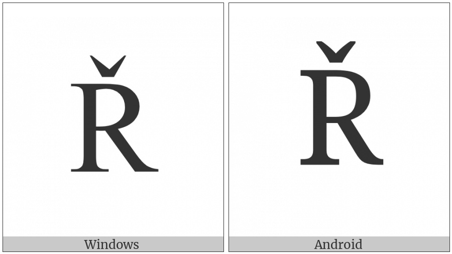 Latin Capital Letter R With Caron on various operating systems