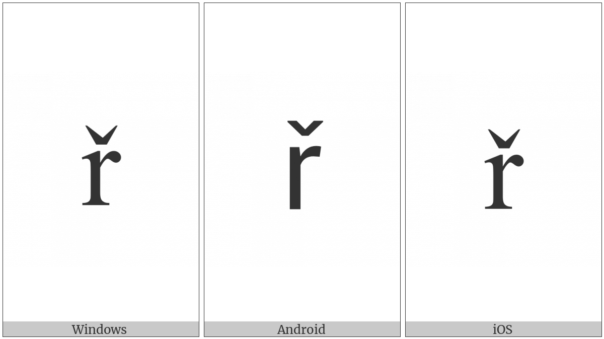 LATIN SMALL LETTER R WITH CARON utf-8 character