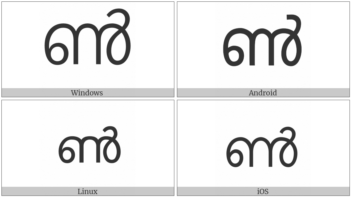 Malayalam Letter Chillu Nn on various operating systems