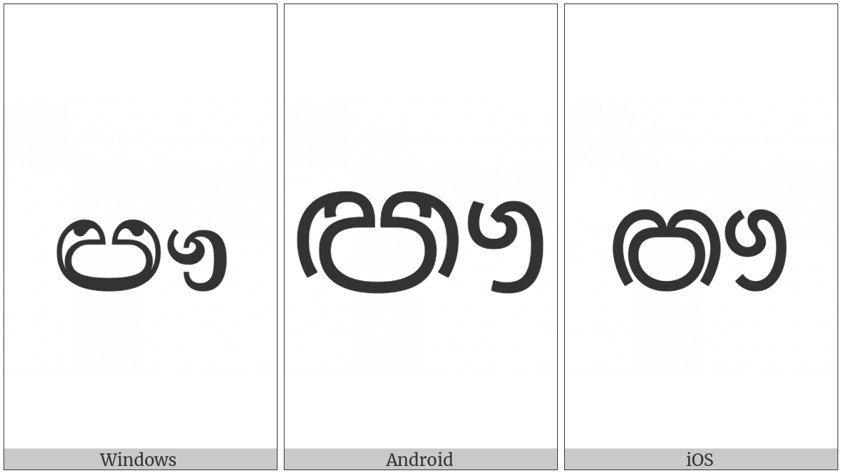 Sinhala Letter Iluuyanna on various operating systems