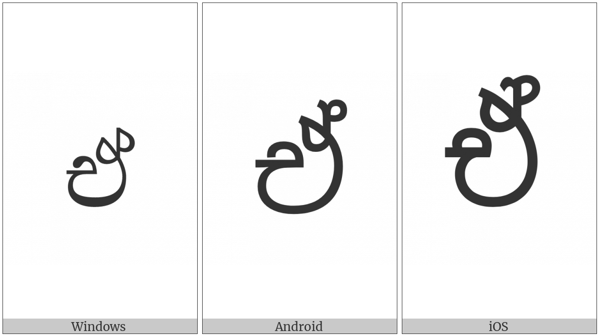 Sinhala Letter Eeyanna on various operating systems