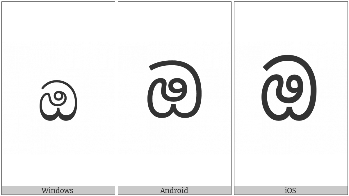Sinhala Letter Oyanna on various operating systems