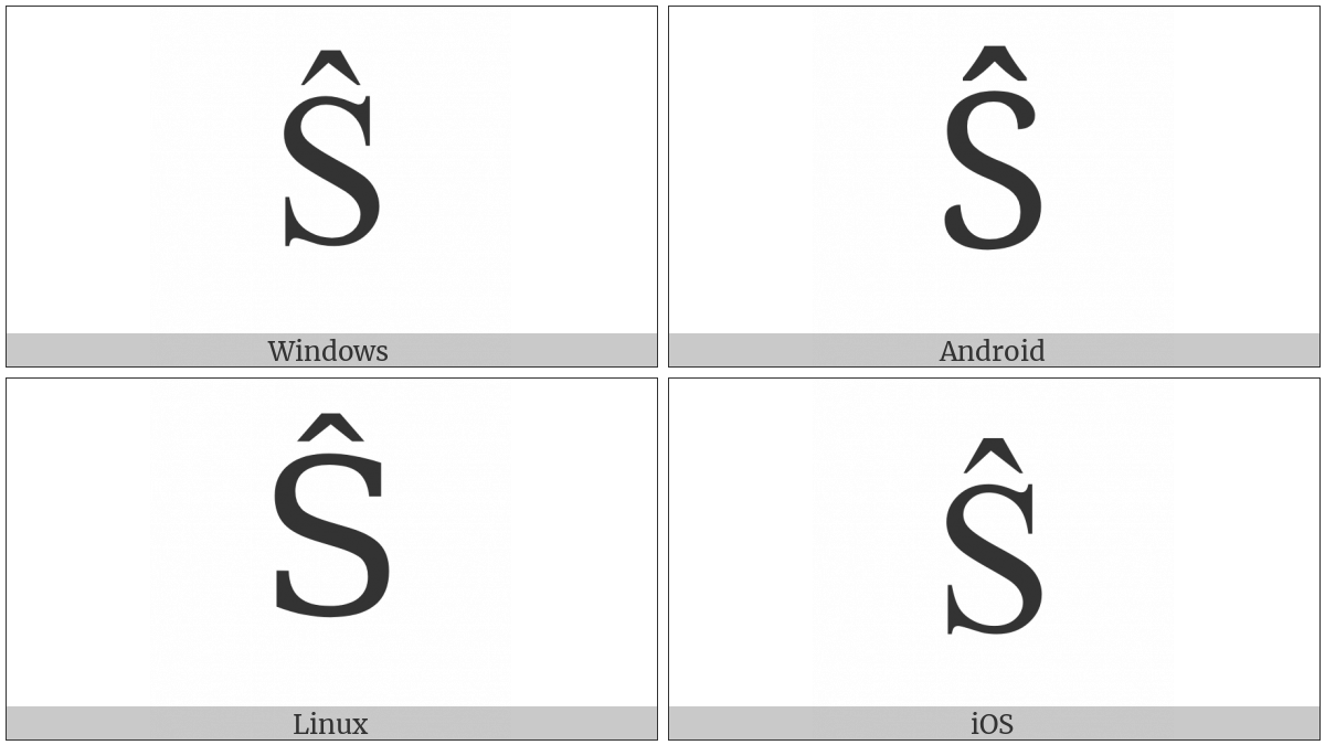 Latin Capital Letter S With Circumflex on various operating systems
