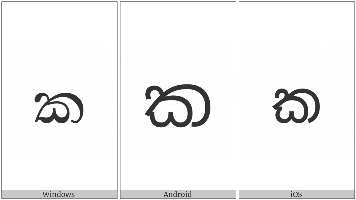 Sinhala Letter Alpapraana Kayanna on various operating systems
