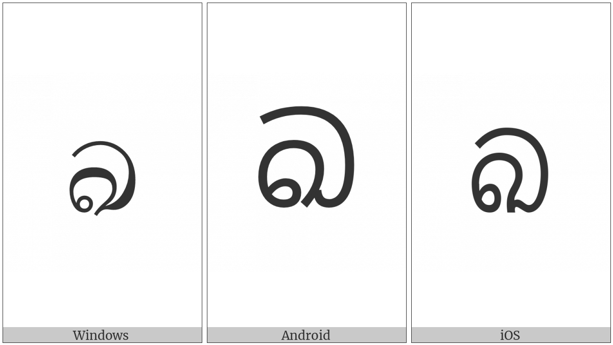 Sinhala Letter Mahaapraana Kayanna on various operating systems