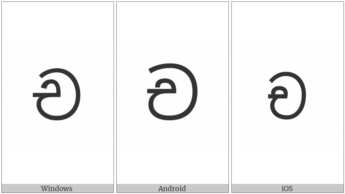 Sinhala Letter Alpapraana Cayanna on various operating systems