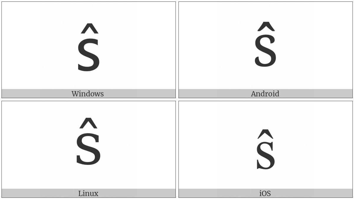 Latin Small Letter S With Circumflex on various operating systems