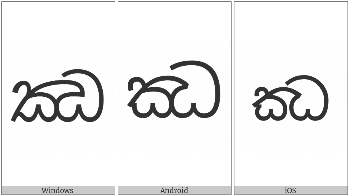 Sinhala Letter Mahaapraana Jayanna on various operating systems