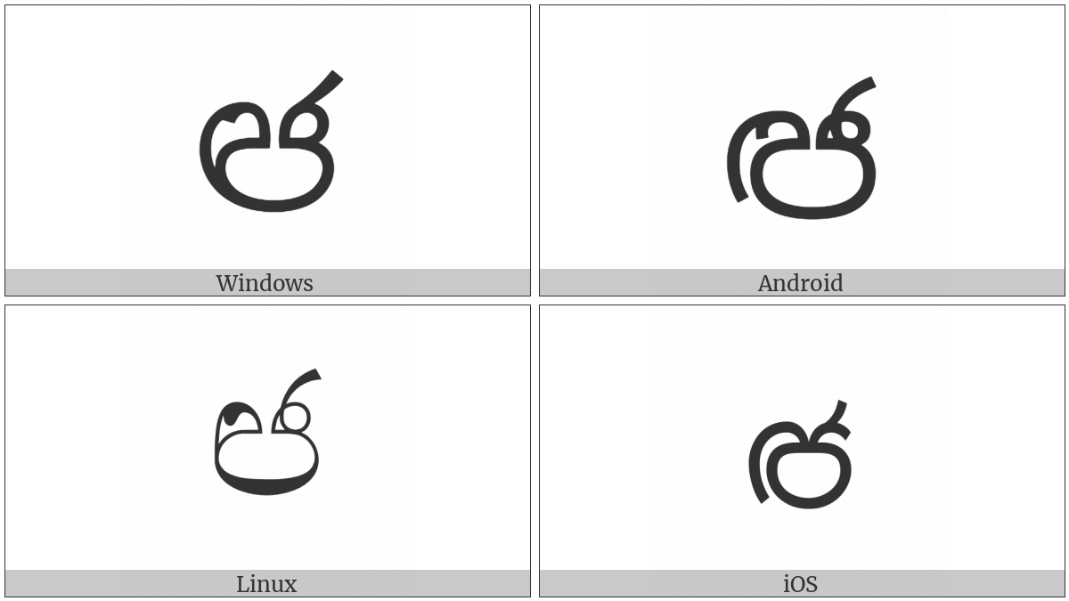 Sinhala Letter Sanyaka Jayanna on various operating systems
