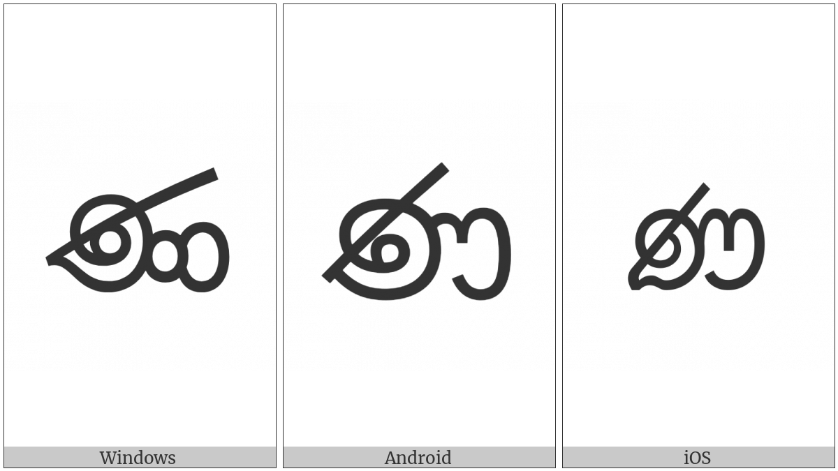Sinhala Letter Muurdhaja Nayanna on various operating systems