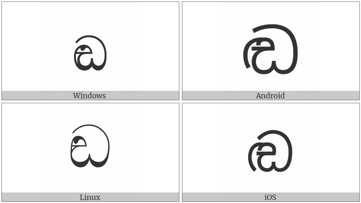 Sinhala Letter Sanyaka Ddayanna on various operating systems