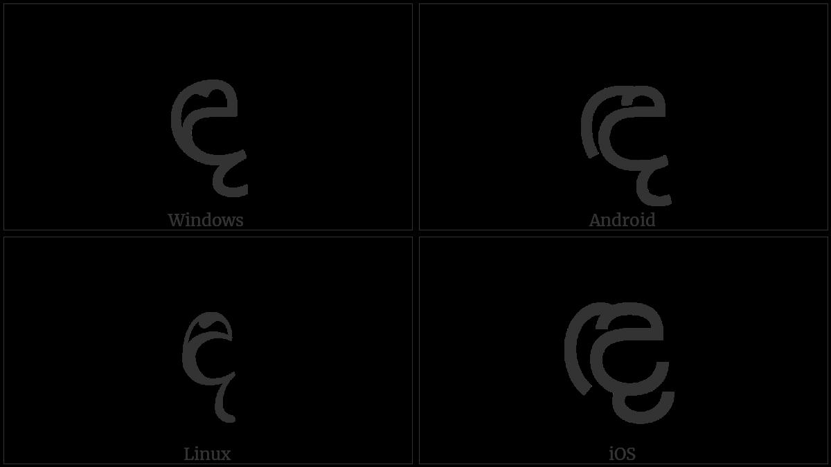 Sinhala Letter Sanyaka Dayanna on various operating systems