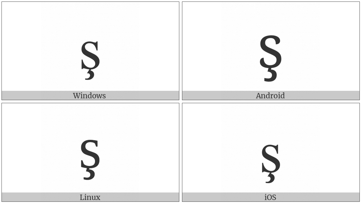 Latin Small Letter S With Cedilla on various operating systems