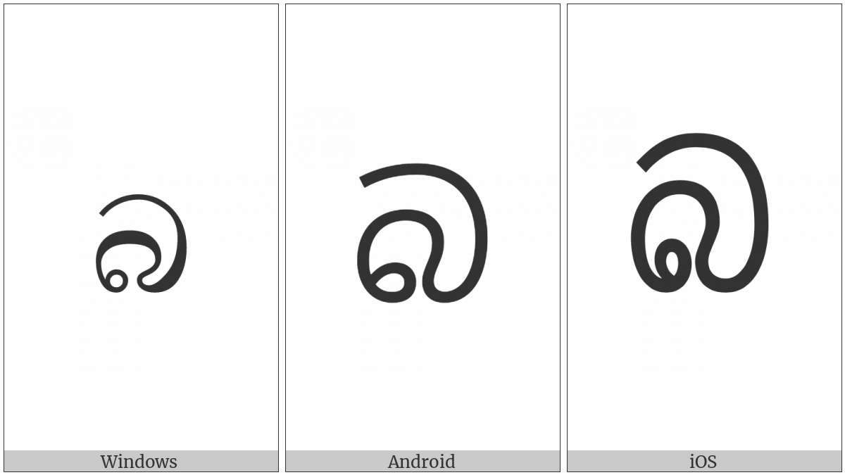 Sinhala Letter Alpapraana Bayanna on various operating systems