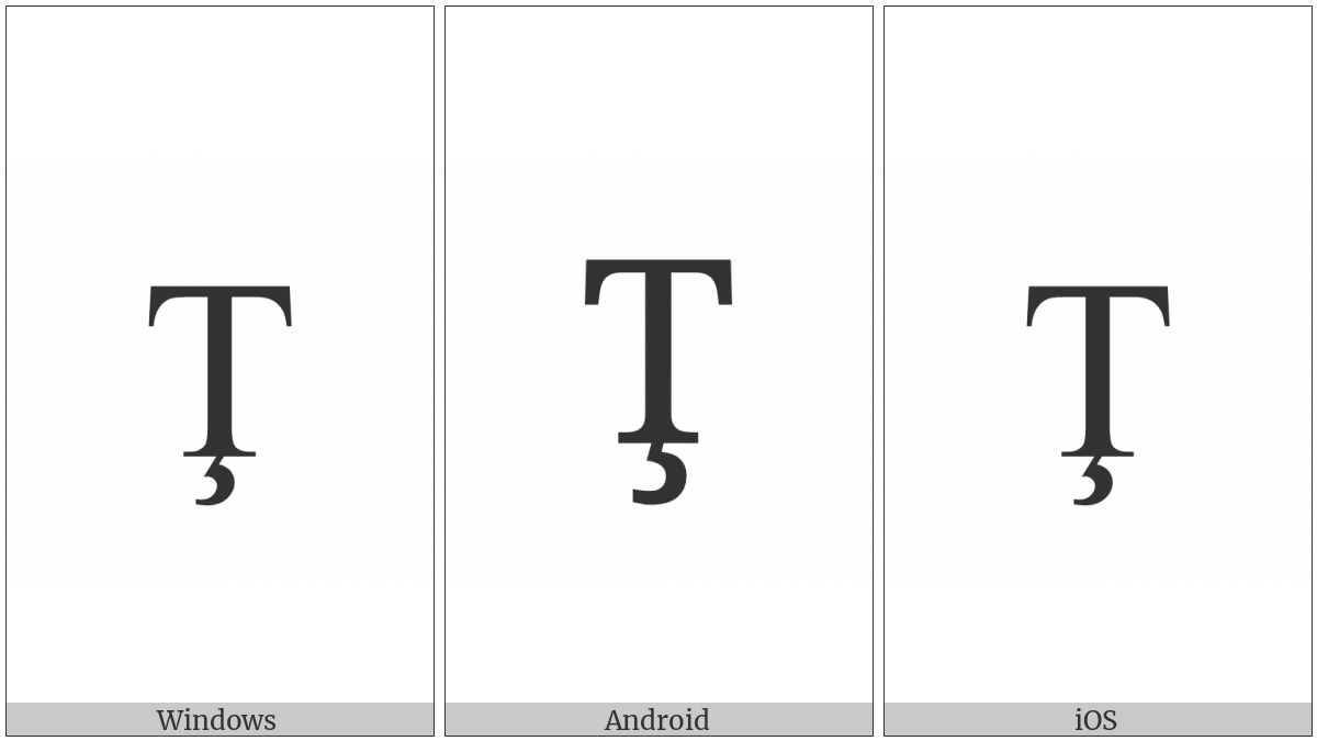 Latin Capital Letter T With Cedilla on various operating systems