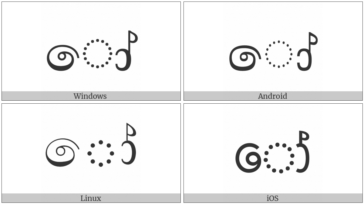 Sinhala Vowel Sign Kombuva Haa Diga Aela-Pilla on various operating systems