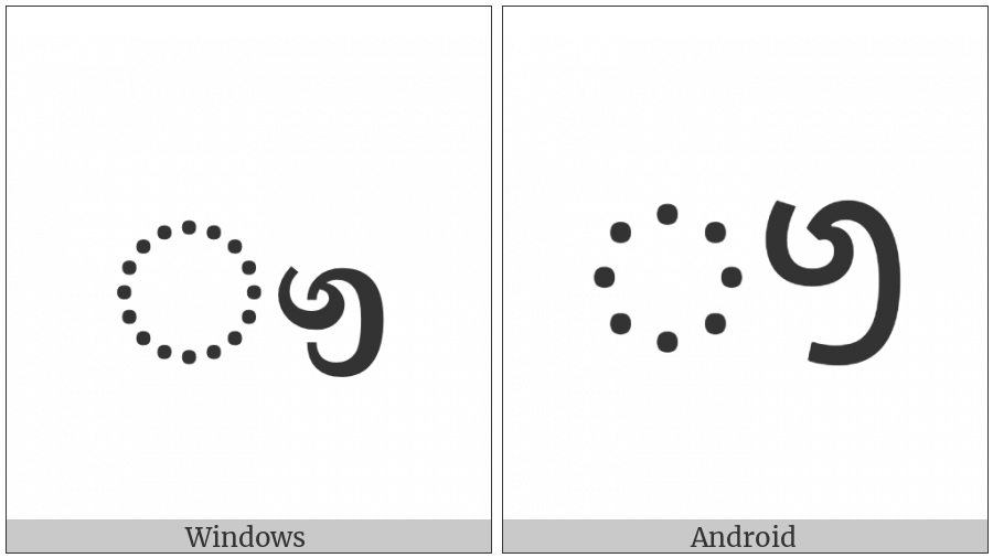 Sinhala Vowel Sign Gayanukitta on various operating systems