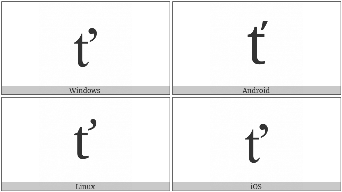 Latin Small Letter T With Caron on various operating systems