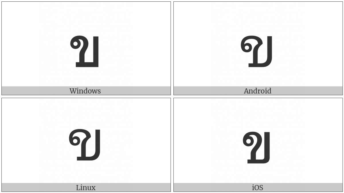 Thai Character Kho Khai on various operating systems