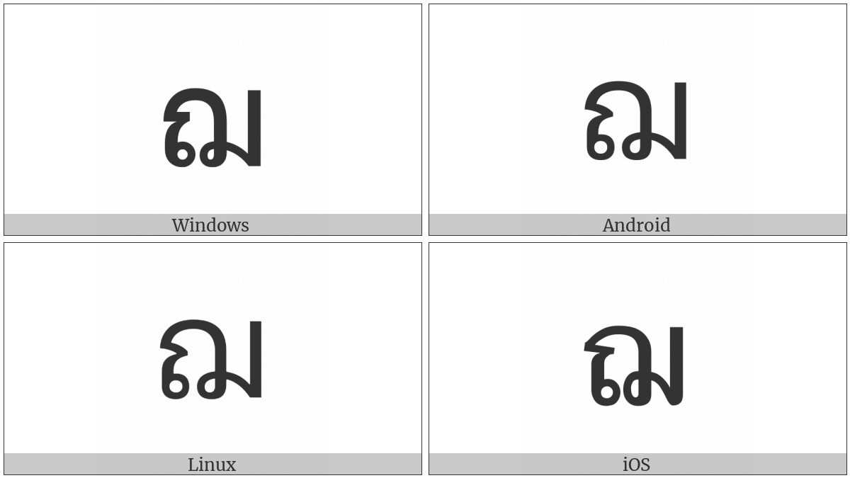 Thai Character Cho Choe on various operating systems