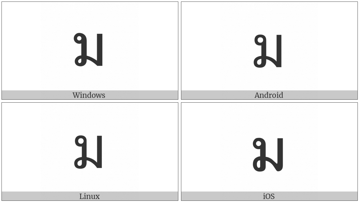Thai Character Mo Ma on various operating systems
