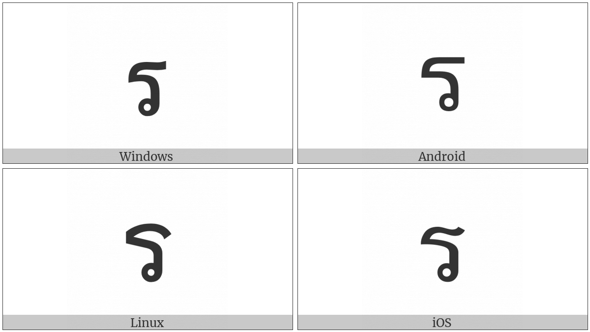Thai Character Ro Rua on various operating systems
