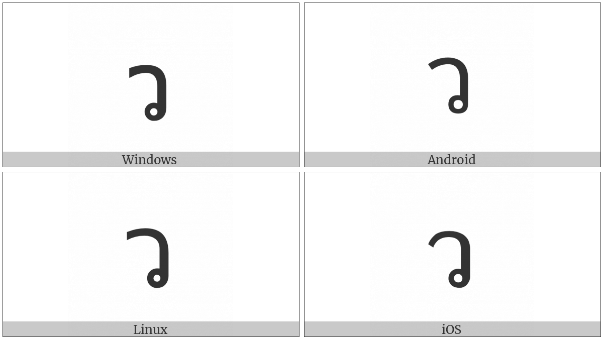 Thai Character Wo Waen on various operating systems