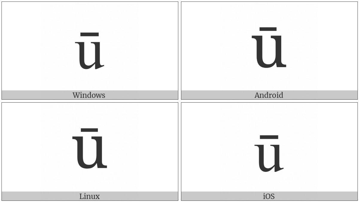 Latin Small Letter U With Macron on various operating systems