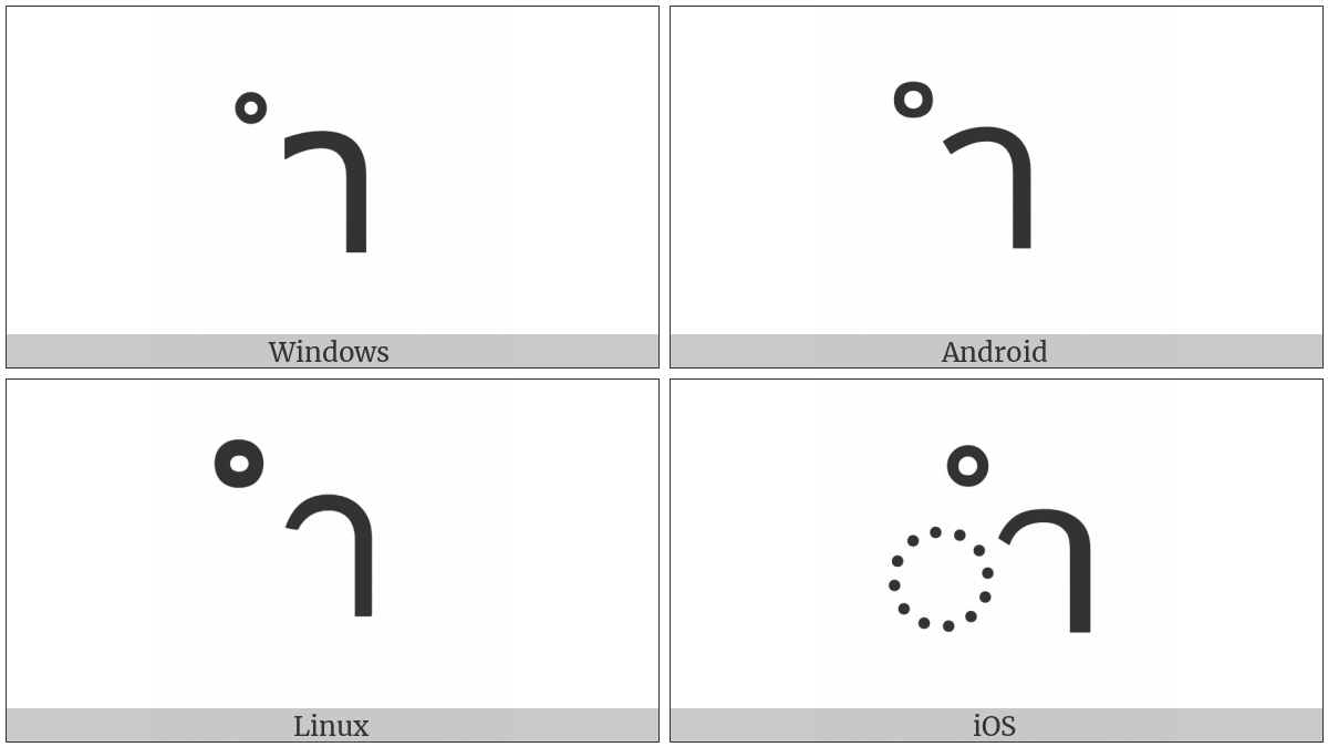 Thai Character Sara Am on various operating systems