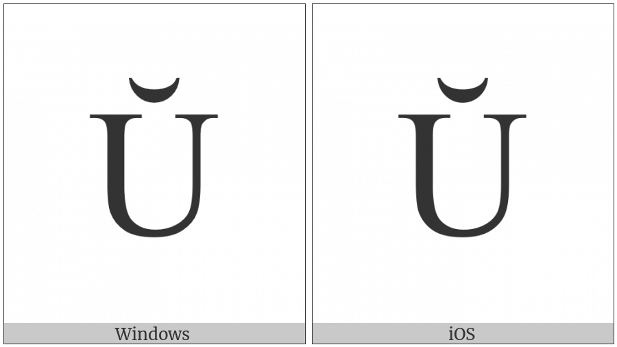Latin Capital Letter U With Breve on various operating systems