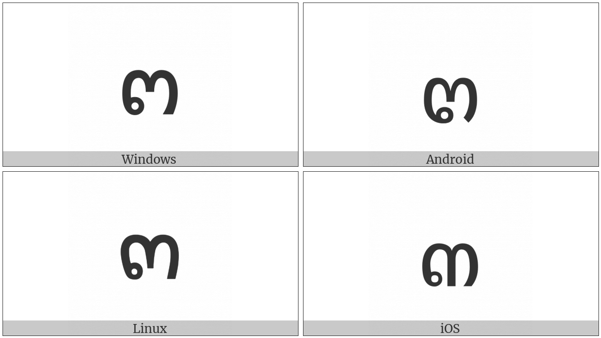 Thai Digit Three on various operating systems