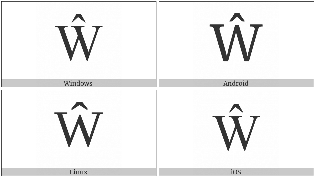 Latin Capital Letter W With Circumflex on various operating systems