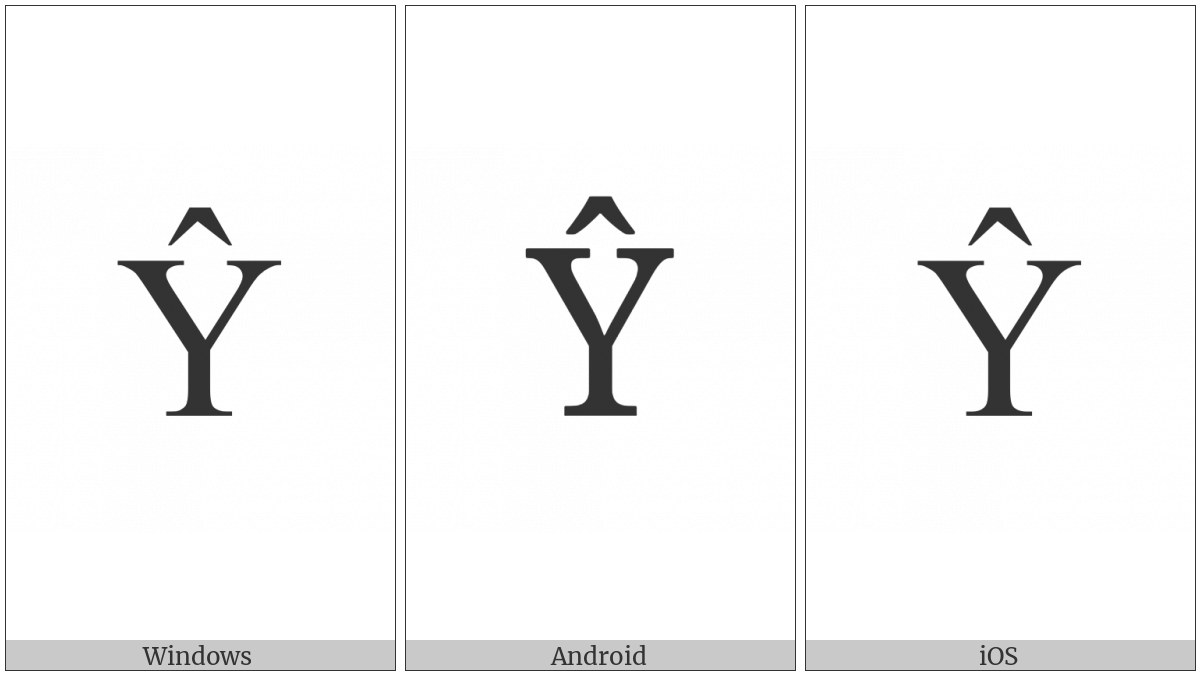 Latin Capital Letter Y With Circumflex on various operating systems