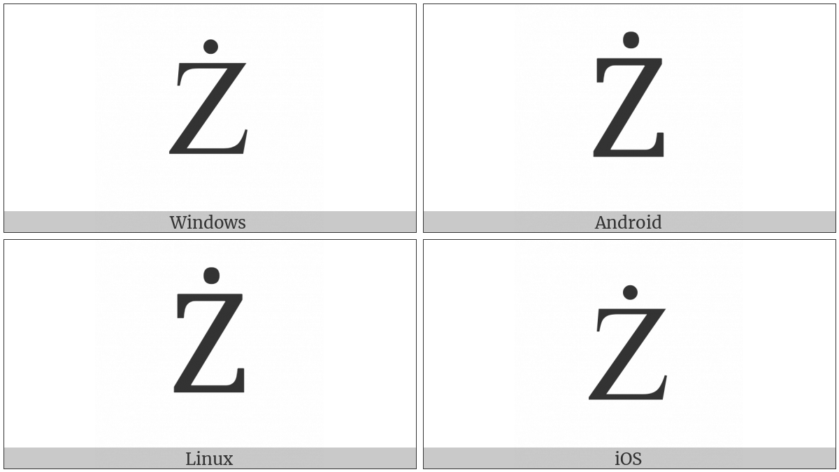 Latin Capital Letter Z With Dot Above on various operating systems